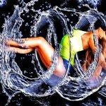 women, retouch, water